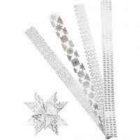 Papierstreifen für Fröbelsterne, L: 100 cm, D: 18 cm, B: 40 mm, Silber, Weiß, 40 Streifen/ 1 Pck