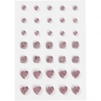 Strasssteine, rund, quadratisch, herzförmig, Größe 6+8+10 mm, Rosa, 35 Stk/ 1 Pck