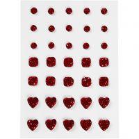 Strasssteine, rund, quadratisch, herzförmig, Größe 6+8+10 mm, Rot, 35 Stk/ 1 Pck