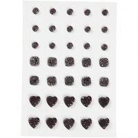 Strasssteine, rund, quadratisch, herzförmig, Größe 6+8+10 mm, Schwarz, 35 Stk/ 1 Pck