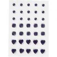 Strasssteine, rund, quadratisch, herzförmig, Größe 6+8+10 mm, Blau, 35 Stk/ 1 Pck
