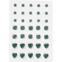 Strasssteine, rund, quadratisch, herzförmig, Größe 6+8+10 mm, Grün, 35 Stk/ 1 Pck