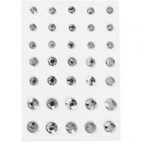 Strasssteine, konisch rund, Größe 6+8+10 mm, Silber, 35 Stk/ 1 Pck