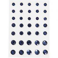 Strasssteine, konisch rund, Größe 6+8+10 mm, Blau, 35 Stk/ 1 Pck