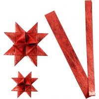 Papierstreifen für Flechtsterne, L: 44+78 cm, D: 6,5+11,5 cm, B: 15+25 mm, Rot, 32 Streifen/ 1 Pck