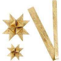 Papierstreifen für Flechtsterne, L: 44+78 cm, D: 6,5+11,5 cm, B: 15+25 mm, Gold, 32 Streifen/ 1 Pck