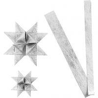 Papierstreifen für Flechtsterne, L: 44+78 cm, D: 6,5+11,5 cm, B: 15+25 mm, Silber, 32 Streifen/ 1 Pck