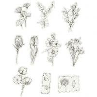 Motiv-Sticker, Blumen schwarz/weiß, Größe 30-50 mm, 30 Stk/ 1 Pck