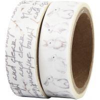 Washi Tape, Text und Kaninchen, B: 15 mm, 2x5 m/ 1 Pck
