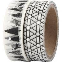 Washi Tape, Hirsche und grapisches Muster - Glanzfolie, B: 15 mm, 2x4 m/ 1 Pck