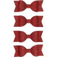 Papier-Schleifen, Größe 31x85 mm, Rot mit Glitter, 4 Stk/ 1 Pck