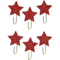 Papier-Klammern aus Metall, Stern, D: 30 mm, Rot mit Glitter, 6 Stk/ 1 Pck