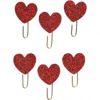 Papier-Klammern aus Metall, Herz, D: 30 mm, Rot mit Glitter, 6 Stk/ 1 Pck