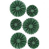 Papier-Rosetten, D: 35+50 mm, Grün mit Glitter, 6 Stk/ 1 Pck