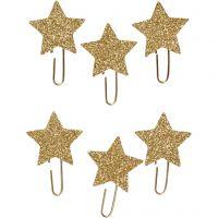 Papier-Klammern aus Metall, Stern, D: 30 mm, Gold mit Glitter, 6 Stk/ 1 Pck
