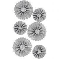 Papier-Rosetten, D: 35+50 mm, Glitter silber, 6 Stk/ 1 Pck