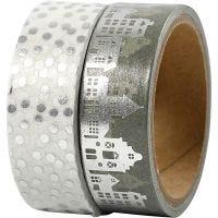 Washi Tape, Häuser & Punkte - Folie, B: 15 mm, Silber, 2x4 m/ 1 Pck