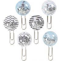 Shaker Clips, L: 49 mm, D: 25 mm, Schwarz, Blau, Grau, Weiß, 6 Stk/ 1 Pck