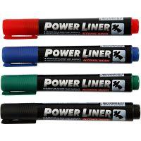 Power Liner, Strichstärke 1,5-3 mm, Schwarz, Blau, Grün, Rot, 4 Stk/ 1 Pck