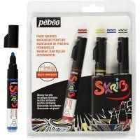 Skribbel-Filzstift, Strichstärke 4 mm, Schwarz, Blau, Rot, Gelb, 4 Stk/ 1 Pck