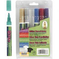 Stoffmalstifte mit Glitter, Strichstärke 3 mm, Glitter-Farben, 6 Stk/ 1 Pck