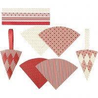 Flechttüten, H: 19,3 cm, B: 9,2 cm, Rot, Weiß, 8 Set/ 1 Pck