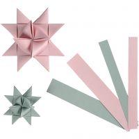 Papierstreifen für Fröbelsterne, B: 15+25 mm, D: 6,5+11,5 cm, 60 Streifen/ 1 Pck