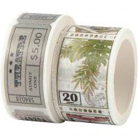 Washi Tape, Ticket- und Naturmotive, L: 3+5 m, B: 20+25 mm, 2 Rolle/ 1 Pck
