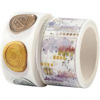 Washi Tape, Siegel- und Wettermotive, L: 3+5 m, B: 20+25 mm, 2 Rolle/ 1 Pck