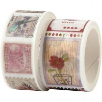 Washi Tape, Briefmarken- und Blumenmotive, L: 3+5 m, B: 20+25 mm, 2 Rolle/ 1 Pck