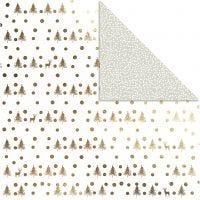 Design-Papier, Hirsche & Punkte, 30,5x30,5 cm, 180 g, Gold, 3 Bl./ 1 Pck