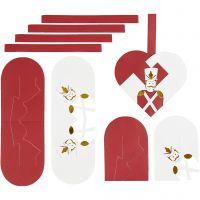 Flechtherzen, Größe 12,5x11,5 cm, Gold, Rot, Weiß, 8 Set/ 1 Pck