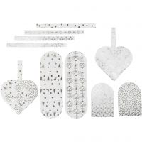 Flechtherzen, Größe 12,5x11,5 cm, 120 g, Silber, Weiß, 8 Set/ 1 Pck