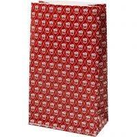 Papiertüten, Trommel, H: 21 cm, Größe 6x12 cm, 80 g, Rot, Weiß, 8 Stk/ 1 Pck