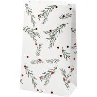 Papiertüten, Tannenzweig mit Christbaumkugeln, H: 21 cm, Größe 6x12 cm, Grün, Metallic-Rot, Weiß, 8 Stk/ 1 Pck