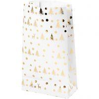 Papiertüten, Weihnachtbäume mit Hirschen, H: 21 cm, Größe 6x12 cm, Gold, Weiß, 8 Stk/ 1 Pck