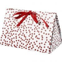Geschenkverpackung, Punkte, Größe 15x7x8 cm, 250 g, Rot, 3 Stk/ 1 Pck