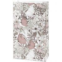 Papiertüten, H: 21 cm, Größe 6x12 cm, 80 g, Beige, Braun, Rosa, Weiß, 8 Stk/ 1 Pck