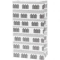 Papiertüten, H: 21 cm, Größe 6x12 cm, 80 g, Schwarz, Weiß, 8 Stk/ 1 Pck