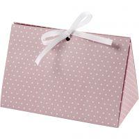 Geschenkverpackung, Punkte, Größe 15x7x8 cm, 250 g, Rosa, Weiß, 3 Stk/ 1 Pck