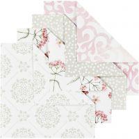 Origami-Papier, Größe 10x10 cm, 80 g, Grün, Grau, Rosa, Weiß, 40 Bl./ 1 Pck