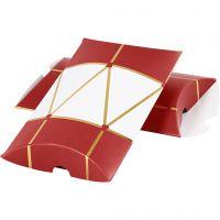 Geschenkverpackung, Trommel, Größe 14,9x9,4x2,5 cm, 300 g, Gold, Rot, Weiß, 3 Stk/ 1 Pck