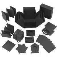 Explosion Box, Größe 7x7x7,5+12x12x12 cm, Schwarz, 1 Stk