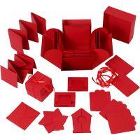 Explosion Box, Größe 7x7x7,5+12x12x12 cm, Rot, 1 Stk