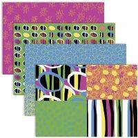 Découpage-Papier, 25x35 cm, 17 g, Fröhliche Farben, 4x2 Bl./ 1 Pck