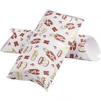 Geschenkverpackung, Nussknacker, Größe 23,9x15x6 cm, 300 g, Gold, Rot, Weiß, 3 Stk/ 1 Pck