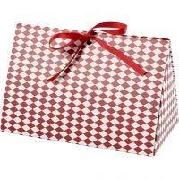 Geschenkverpackung, Harlekin-Muster, Größe 15x7x8 cm, 250 g, Rot, Weiß, 3 Stk/ 1 Pck