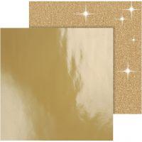 Design-Papier, 30,5x30,5 cm, 120+128 g, Gold, 2 Bl./ 1 Pck