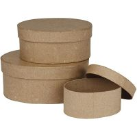 Schachteln, oval, H: 5+6,5+8 cm, L: 11,5+15+18 cm, 3 Stk/ 1 Set