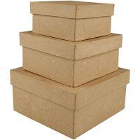 Pappschachtel-Set, viereckig, H: 5+6+7,5 cm, Größe 10+12,5+15 cm, 3 Stk/ 1 Set